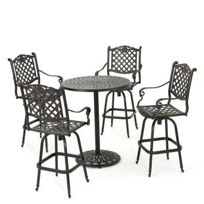 Willow 5-Piece Aluminum Circular Outdoor Bar Height Bistro Set
