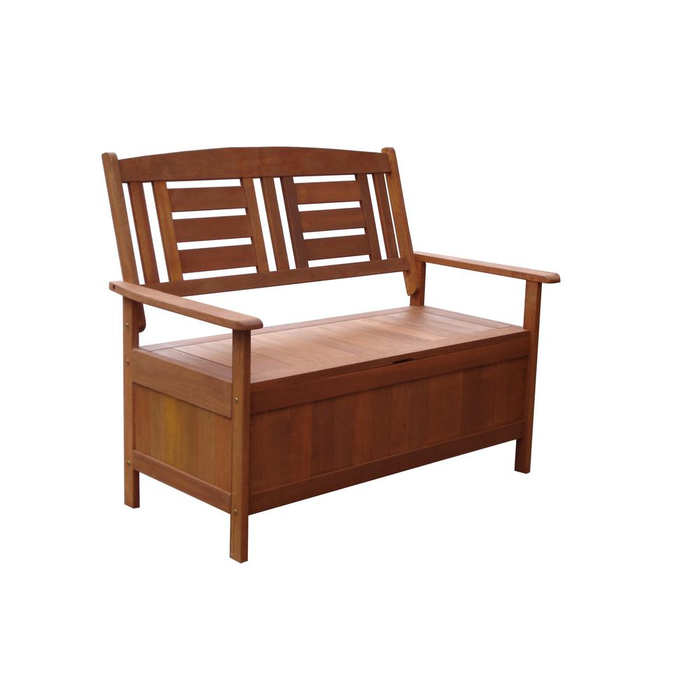 Lautan Kalbarri Wood Storage Outdoor Bench Seat-88891 - The Home Depot