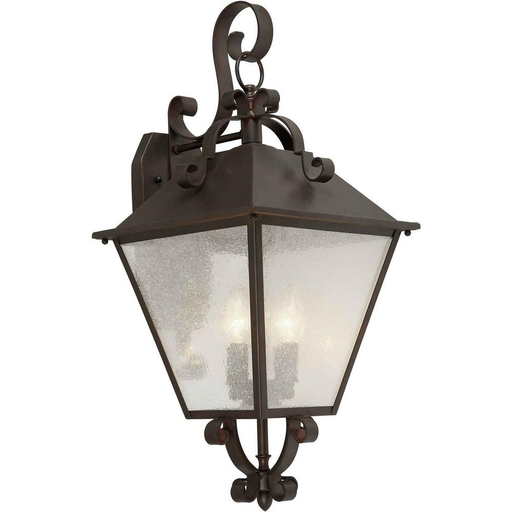Talista 4-Light Outdoor Antique Bronze Wall Lantern with Clear Seeded Glass