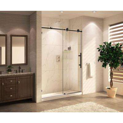 Mocha Premium 48 in. x 76 in. Frameless Sliding Shower Door with Clear Glass in Oil Rubbed Bronze