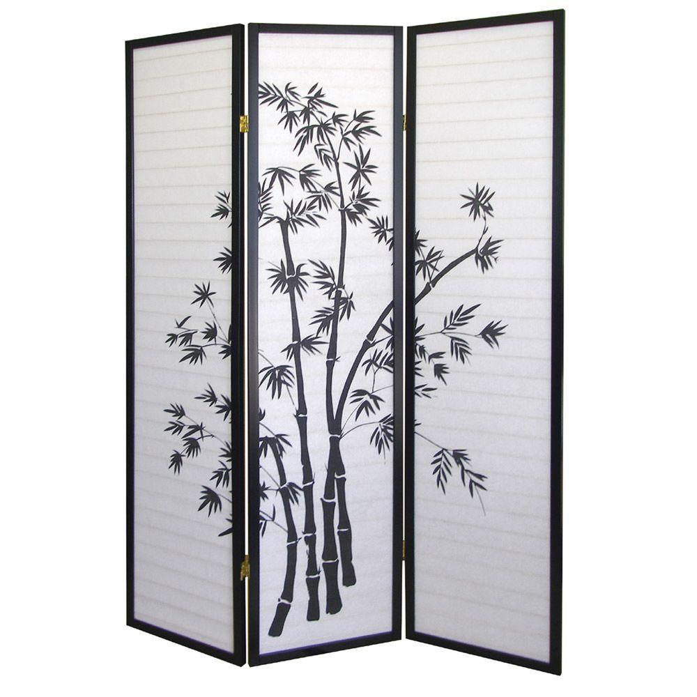 Home Decorators Collection 5.83 ft. Black 3-Panel Room Di...