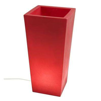 Twist Production 32 in. Red Outdoor Lighted Planter