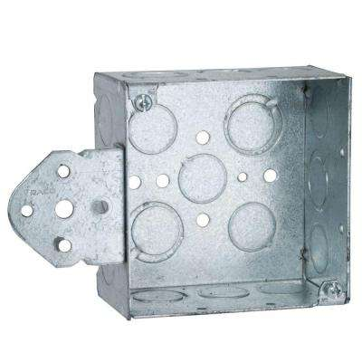 4 in. Square Welded Box, 2-1/8 Deep with 1/2 & 3/4 in. TKO's and B Bracket (25-Pack)
