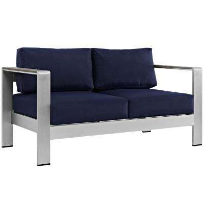 Shore Aluminum Patio Outdoor Loveseat in Silver with Navy Cushions
