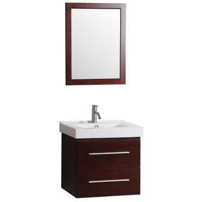 24 in. W x 18 in. D Floating Bath Vanity with Vanity Top in White with Vitreous China Basin in White and Mirror