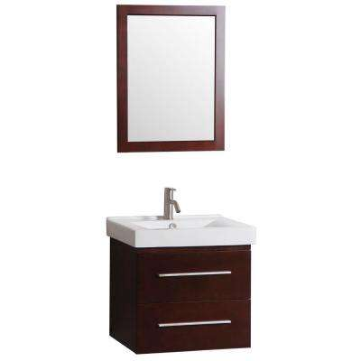 Santorini 24 in. W x 18 in. D Floating Vanity in Dark Cherry with Vitreous China Basin in White and Mirror