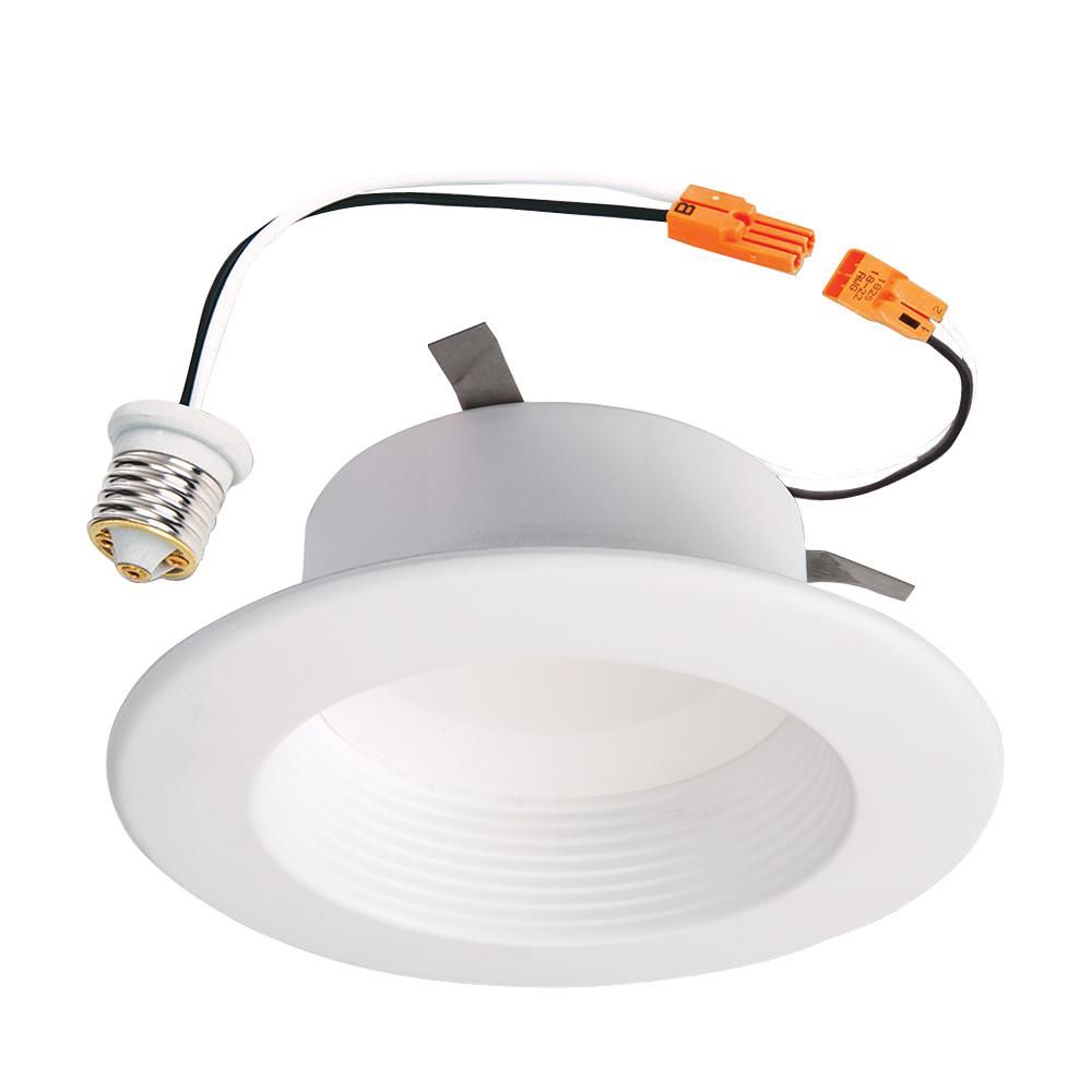 Halo rl 4 in white integrated led recessed ceiling light fixture white integrated led recessed ceiling light fixture retrofit baffle trim with 90 cri 3000k soft white mozeypictures Choice Image