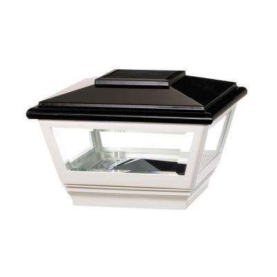 4 in. x 4 in. Vinyl Solar Light Black Post Cap with White Base