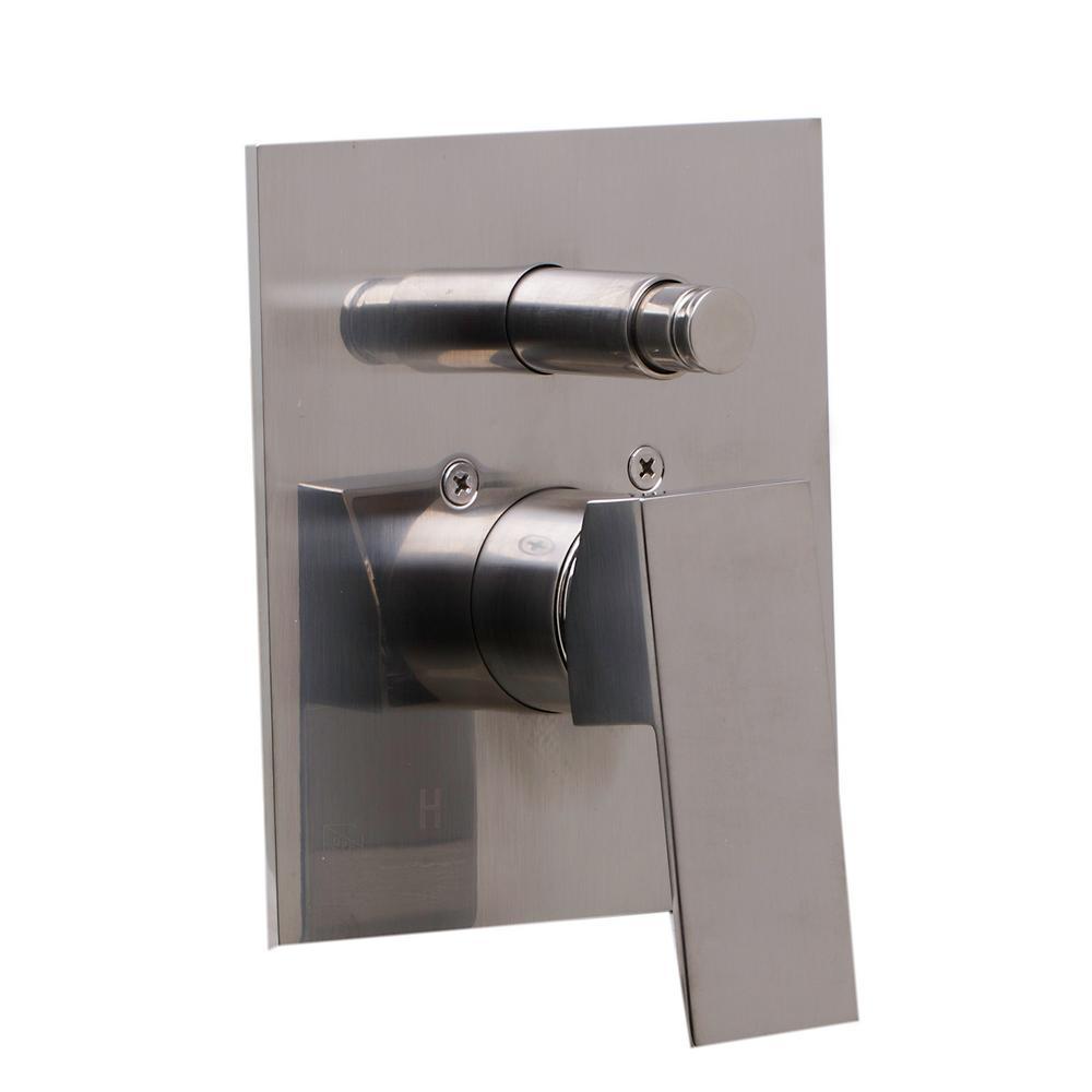 Single-Handle Shower Mixer Valve with Sleek Modern Design in Brushed Nickel