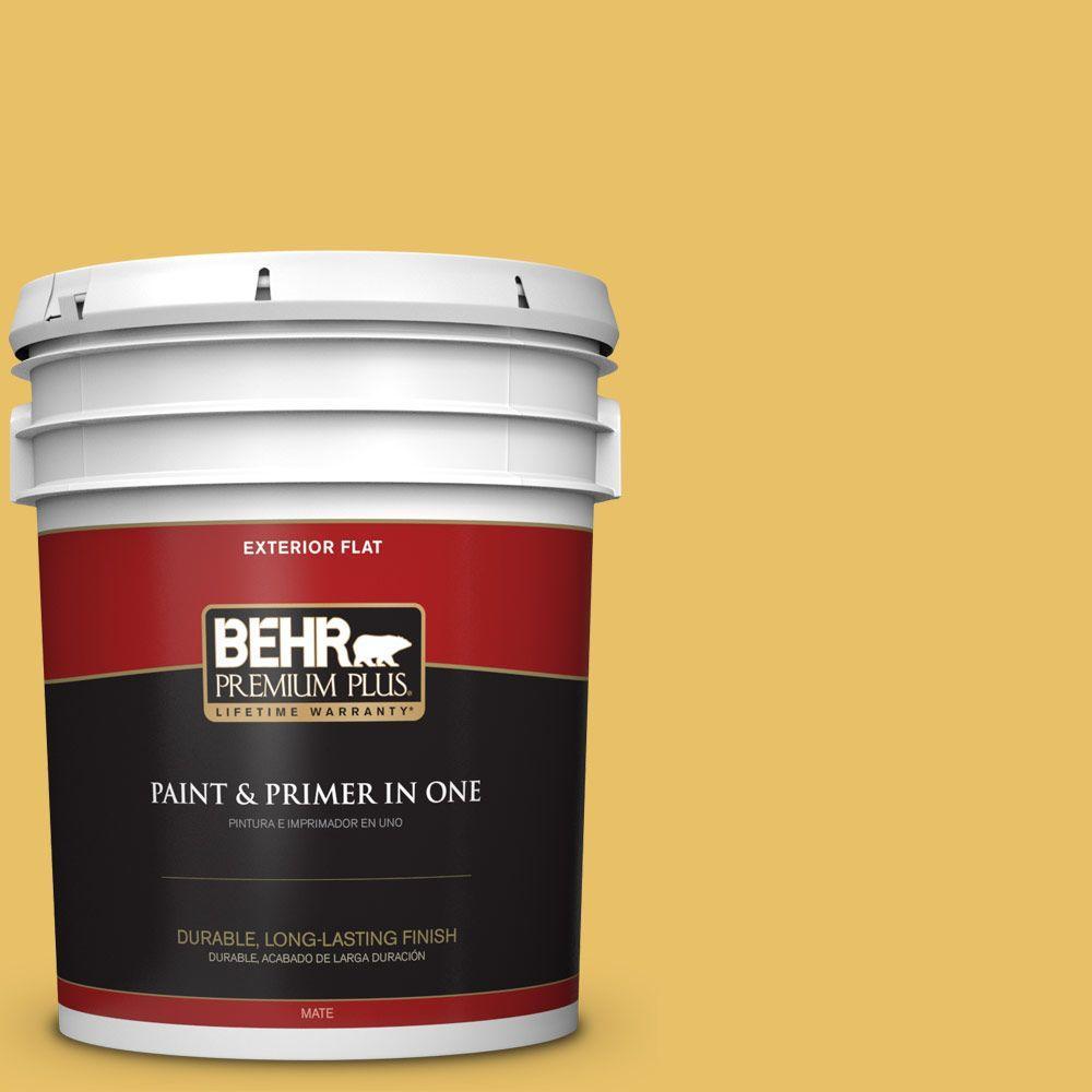 BEHR Premium Plus 5-gal. #360D-5 Golden Chalice Flat Exterior Paint