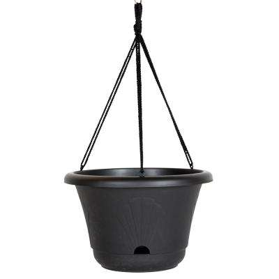 13 x 8.75 Black Lucca Plastic Self Watering Hanging Basket