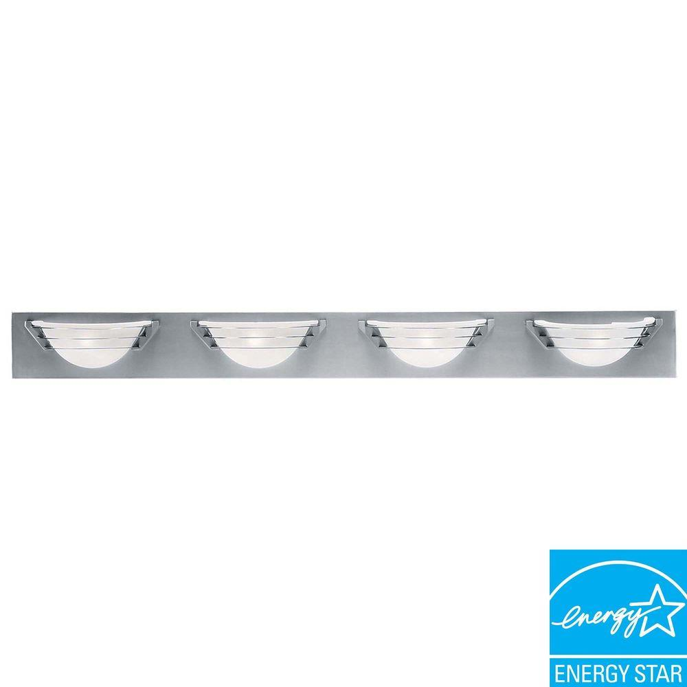 Access Lighting 4-Light Vanity Brushed Steel Finish Frosted Glass-DISCONTINUED