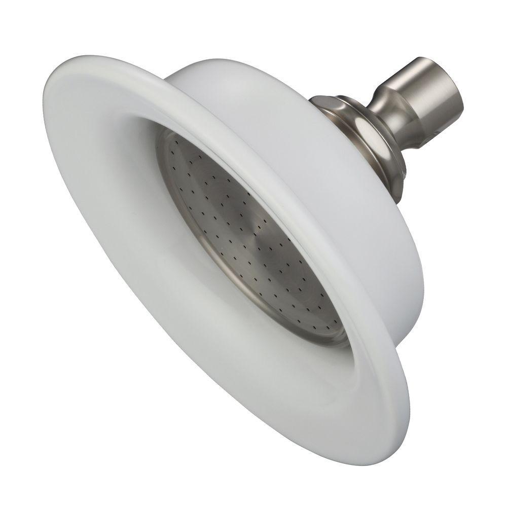 1-Spray 6.1 in. Single Wall Mount Fixed Shower Head in Brushed Nickel