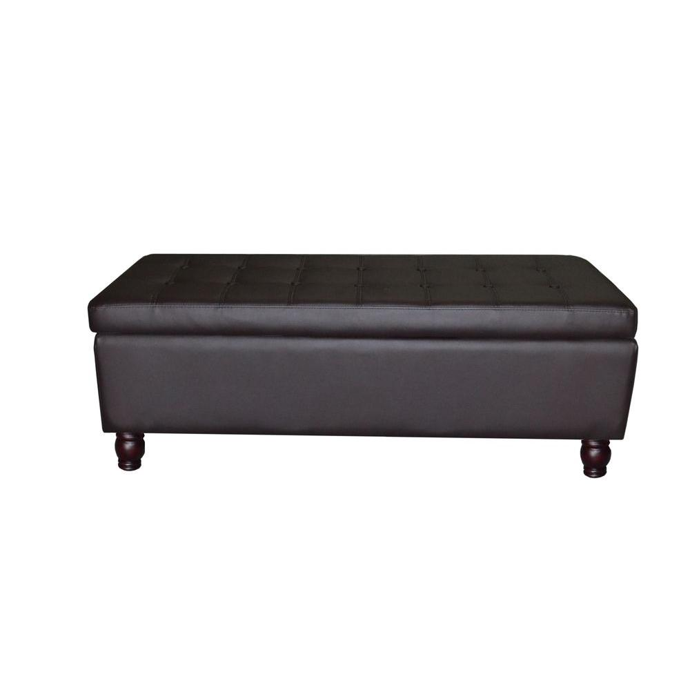 faux leather tufted ottoman with storage brown om 1106 the home depot