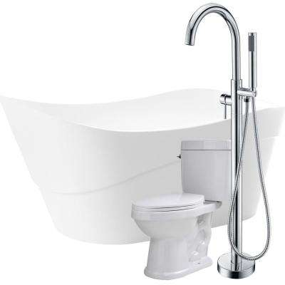 Strait 67 in. Acrylic Flatbottom Non-Whirlpool Bathtub in White with Kros Faucet and Cavalier 1.28 GPF Toilet