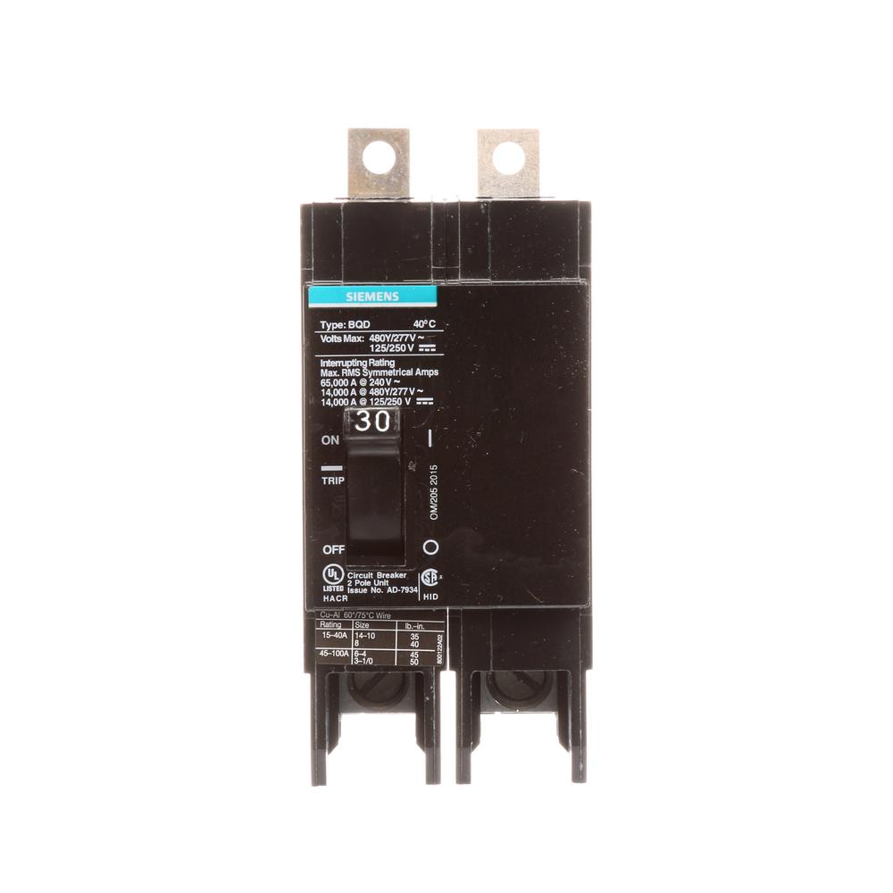 Siemens 25 Amp Double-Pole Type QP Circuit Breaker-Q225 - The Home Depot