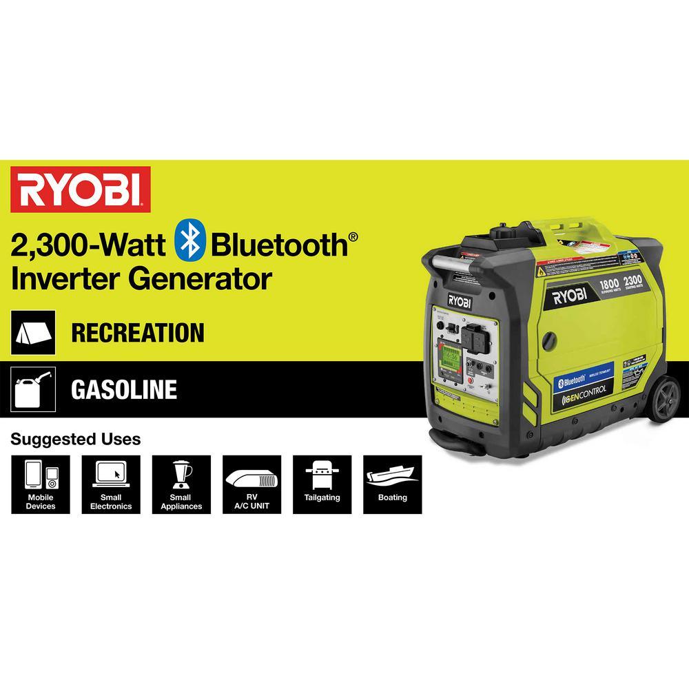 RYOBI RYI2300BTA 2300-WATT INVERTER GENERATOR 6 GALLON EXTENDED RUN FUEL SYSTEM