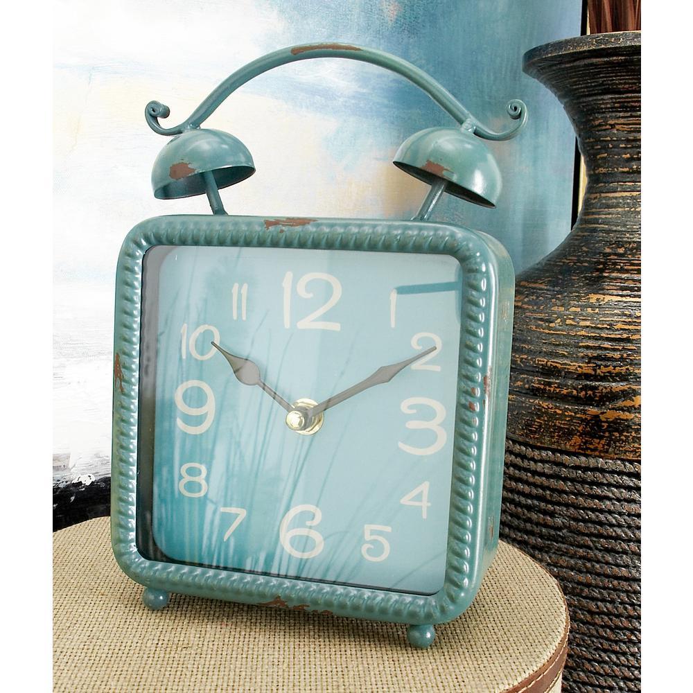 9 in. x 6 in. Multi Square Alarm-Style Table Clocks (Set of 4)