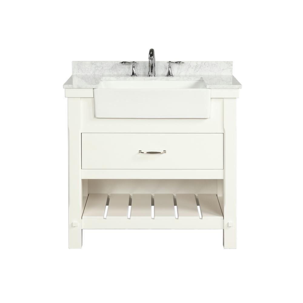 Marina 36 in. Single Bath Vanity in White with Marble Vanity Top in Carrara White with White Farmhouse Basin