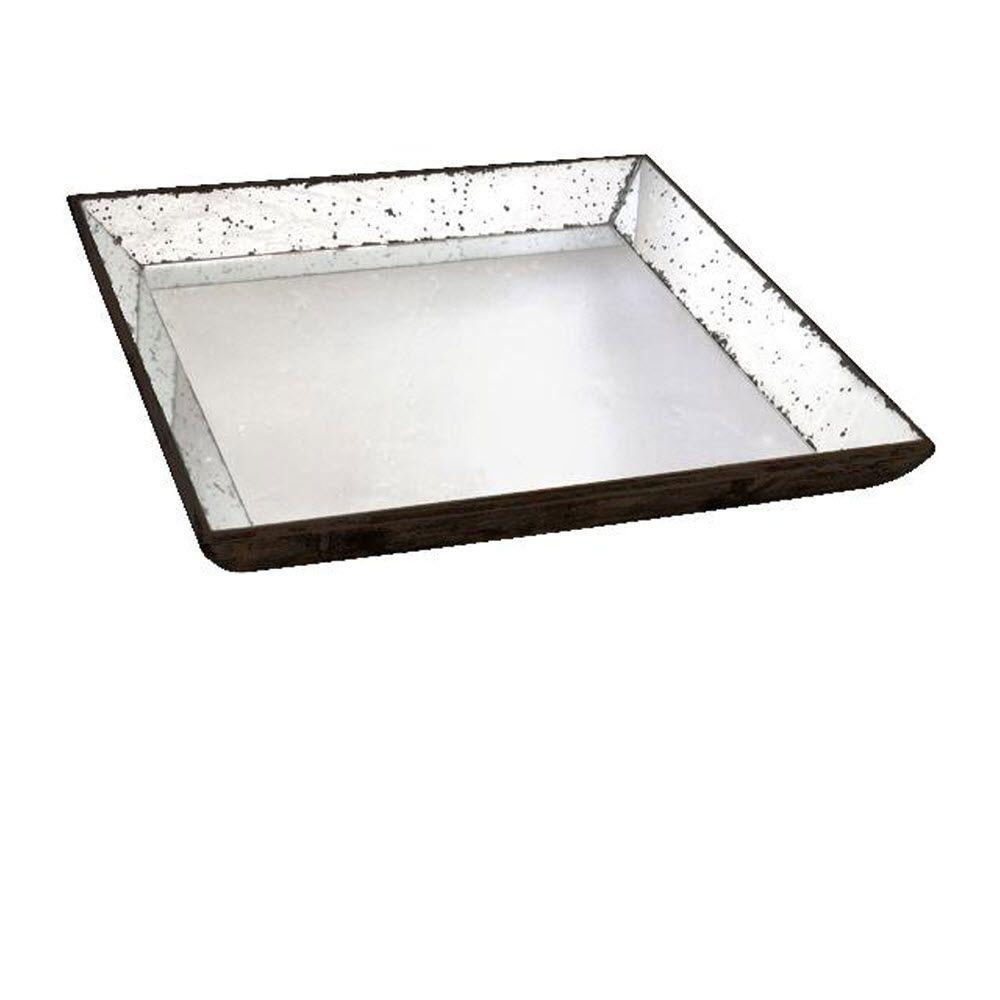 ABHome A & B Home 24 in. H x 24 in. W Clear Glass Roberto Tray, Mirror/ Silver/ Black