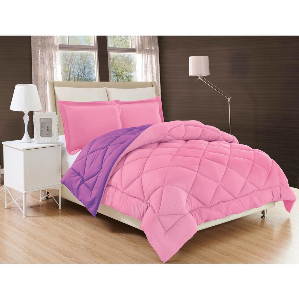 Down Alternative Pink And Purple Reversible Full Queen Comforter Set