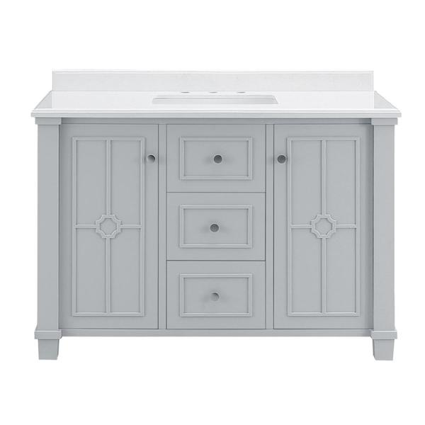 Positano 48 in. W x 22 in. D Bath Vanity in Dove Grey with Cultured Marble Vanity Top in with White Basin
