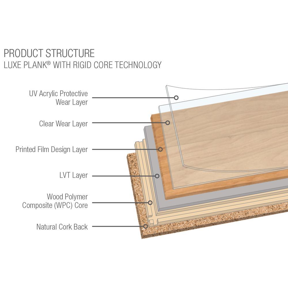 Luxe w/ Rigid Core 6 in. W x 48 in. L Gunstock Waterproof Click Lock Luxury Vinyl Plank Flooring (27.39 sq. ft./case)