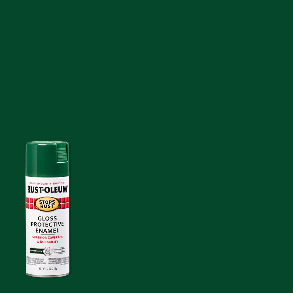 Rust-Oleum Stops Rust 12 oz. Protective Enamel Gloss Hunter Green Spray Paint