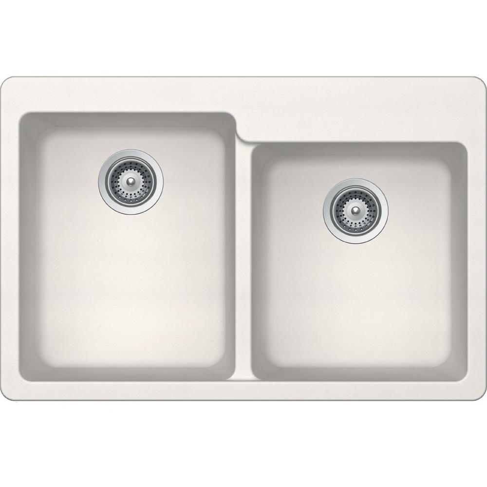 Elkay Elkay by Schock Drop-In/Undermount Quartz Composite 33 in. Square Offset Double Bowl Kitchen Sink in Ricotta