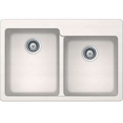 Elkay by Schock Drop-In/Undermount Quartz Composite 33 in. Square Offset Double Bowl Kitchen Sink in Ricotta