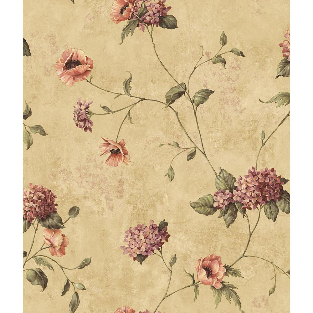 Henrietta Brown Hydrangea Floral Trail Wallpaper
