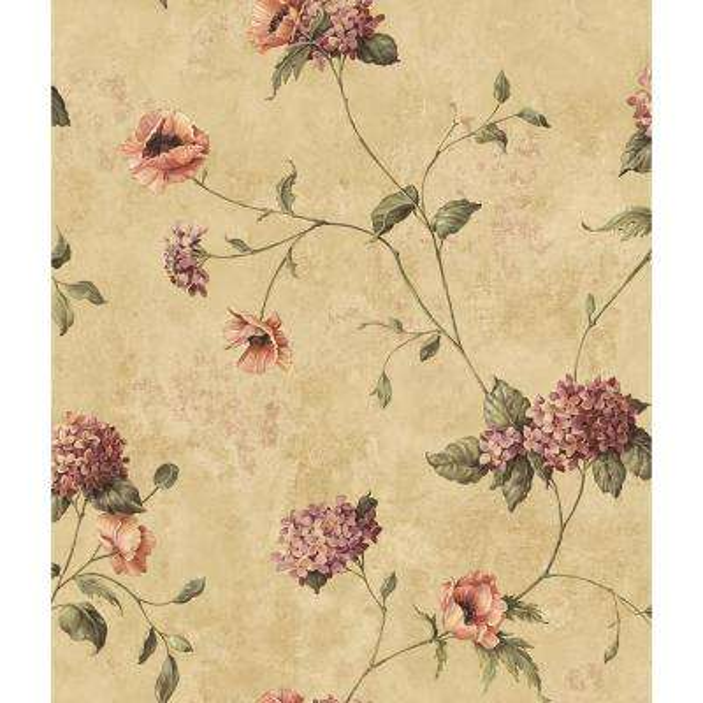 Henrietta Brown Hydrangea Floral Trail Wallpaper