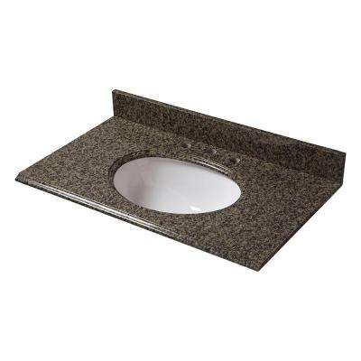 37 in. W Granite Vanity Top in Quadro with White Bowl and 8 in. Faucet Spread