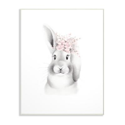"13 in. x 19 in. ""Sketched Fluffy Bunny Flowers"" by Studio Q Printed Wood Wall Art"