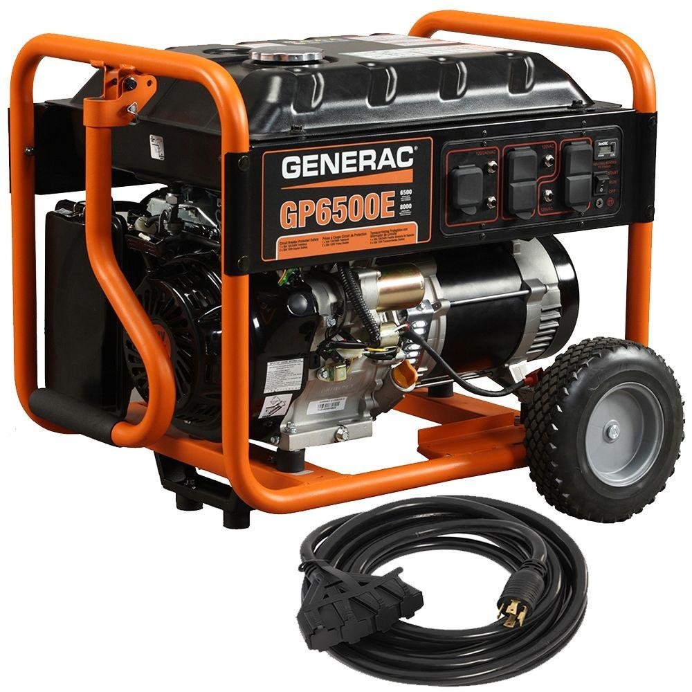 Generac Gp6500e 6500 Watt Gasoline Powered Electric Start Portable