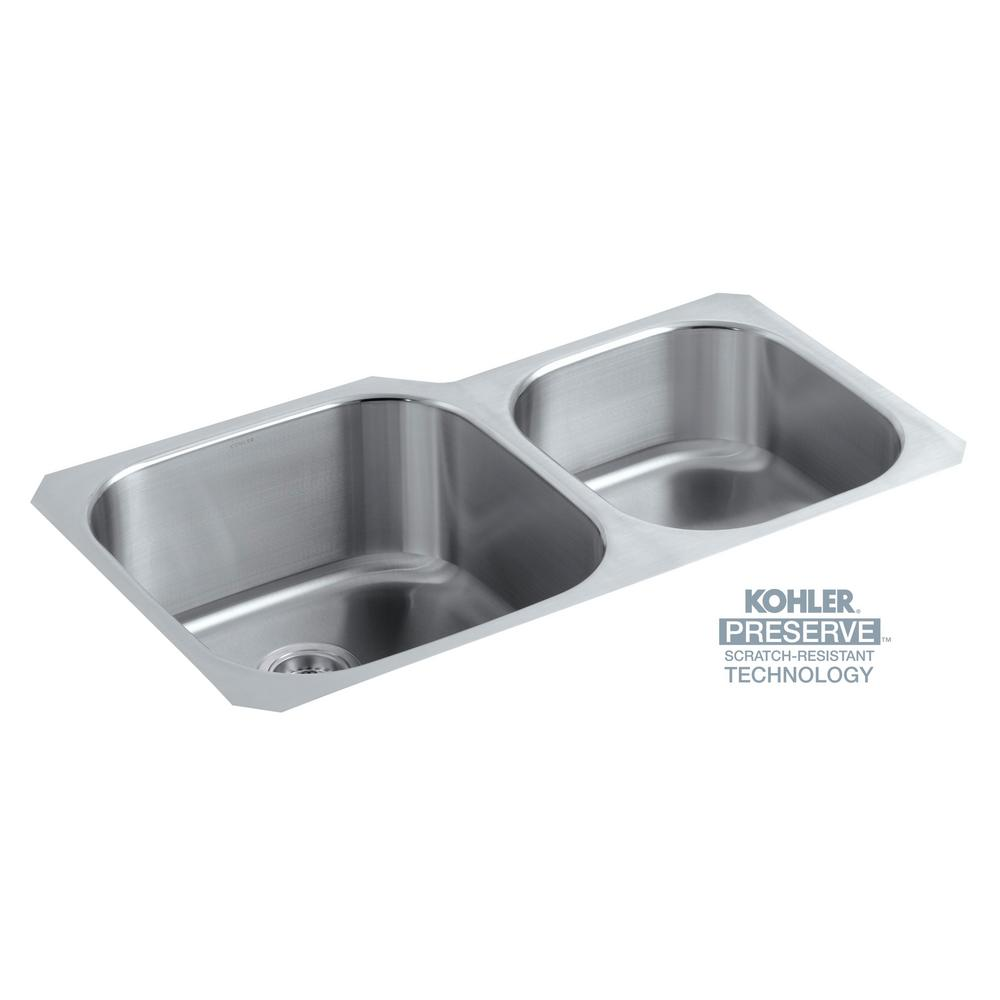 KOHLER Undertone Preserve Undermount Scratch Resistant Stainless Steel 35  In. Double Bowl Kitchen Sink