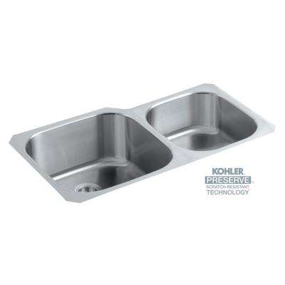 Undertone Preserve Undermount Scratch-Resistant Stainless Steel 35 in. Double Bowl Kitchen Sink Kit