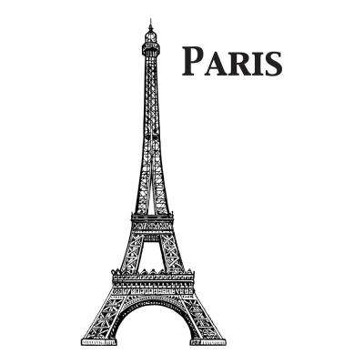 110.2 in. x 39.4 in. Eiffel Tower Wall Decal