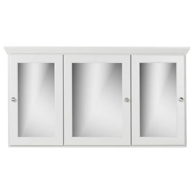48 in. W x 27 in. H x 6.5 in. D Tri-View Surface-Mount Medicine Cabinet Rounded/Mirror in Dewy Morning