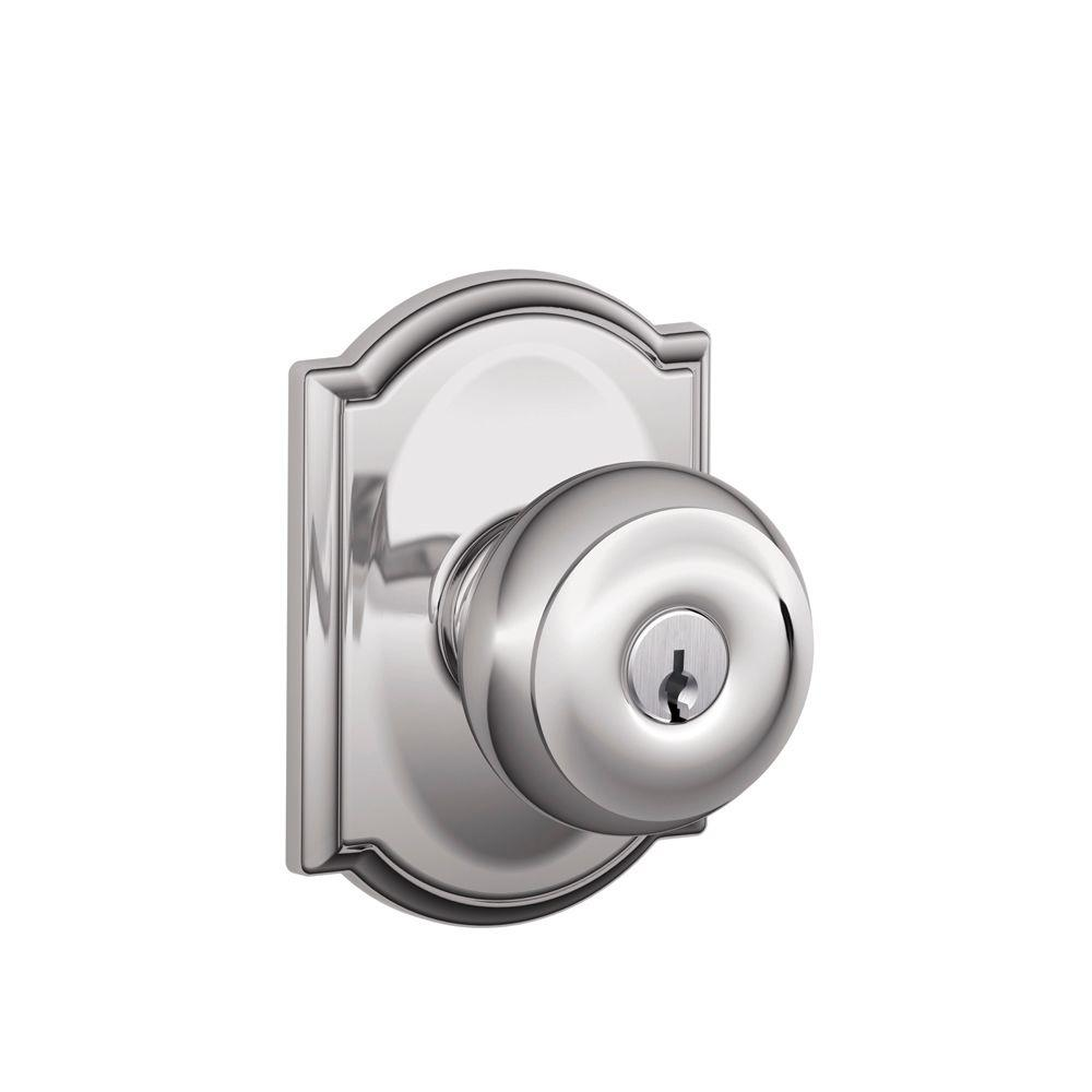 Schlage Georgian Bright Chrome Entry Door Knob with Camelot Trim ...