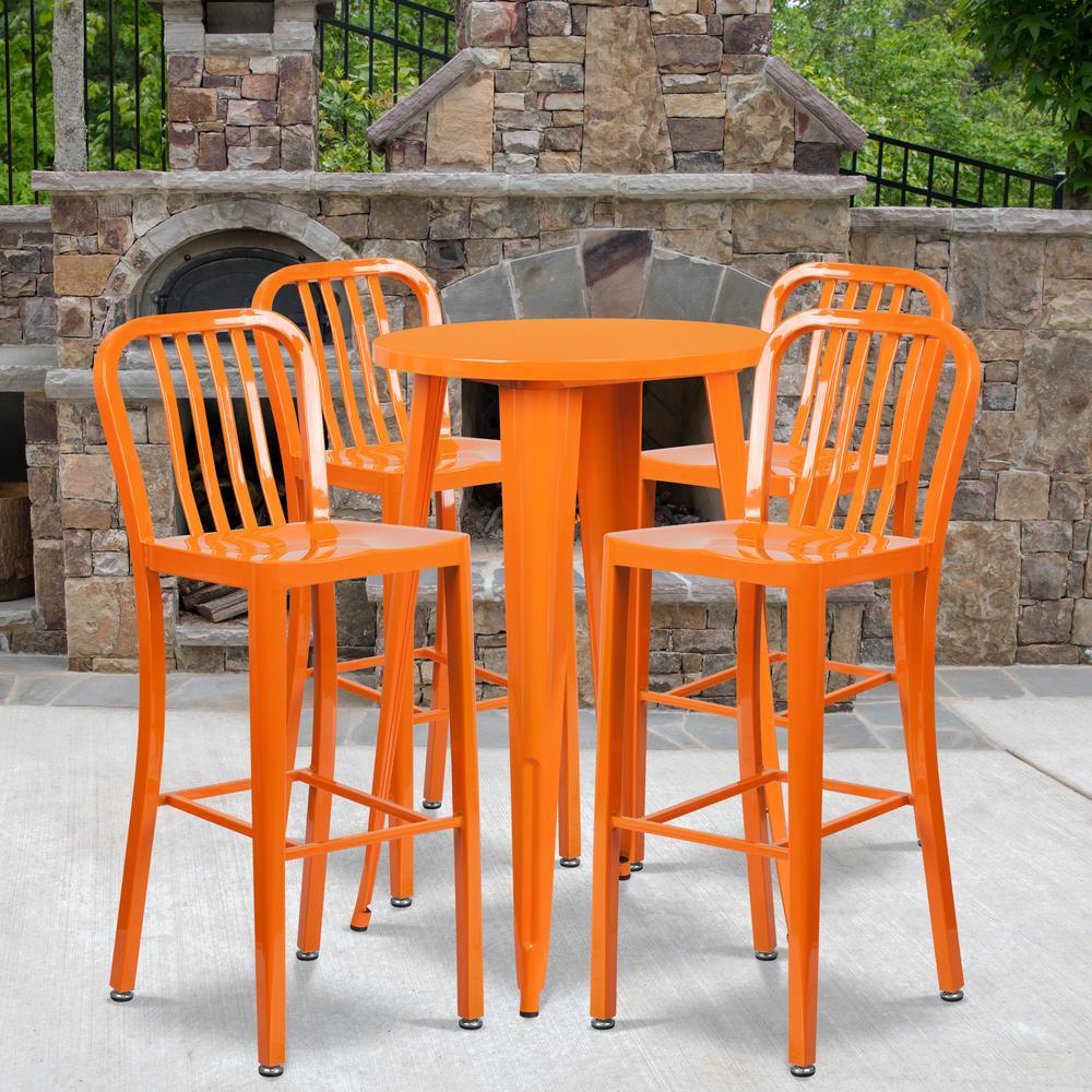 Orange 5-Piece Metal Round Outdoor Bistro Set