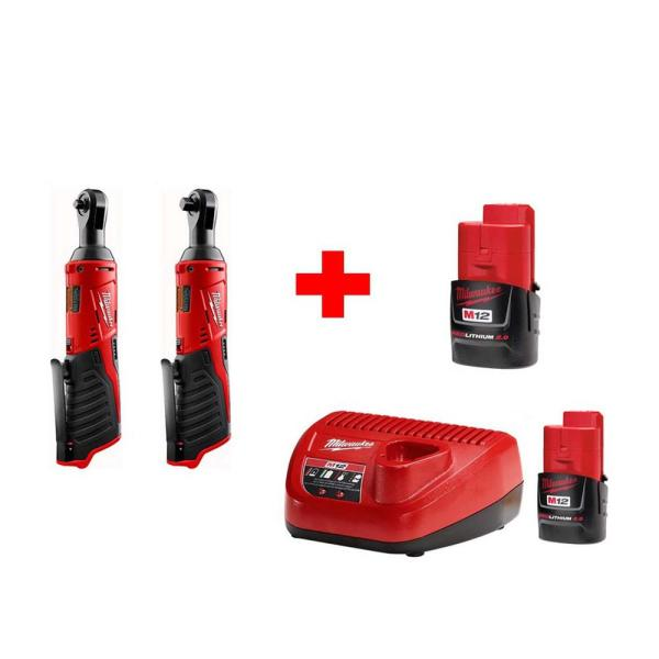 M12 12-Volt Lithium-Ion Cordless 1/4 in. Ratchet and 3/8 in. Ratchet Combo Kit (2-Tool) W/ (2) 2.0Ah Batteries