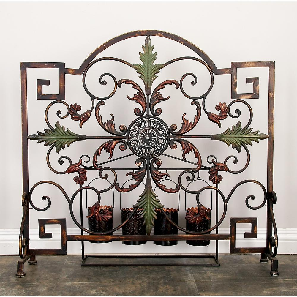 35 in. x 34 in. Brown and Green Iron Single Panel
