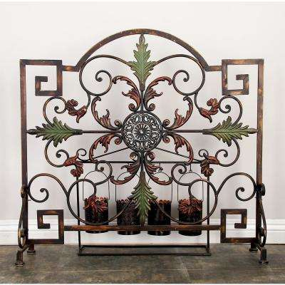 35 in. x 34 in. Brown and Green Iron Single Panel Fireplace Screen