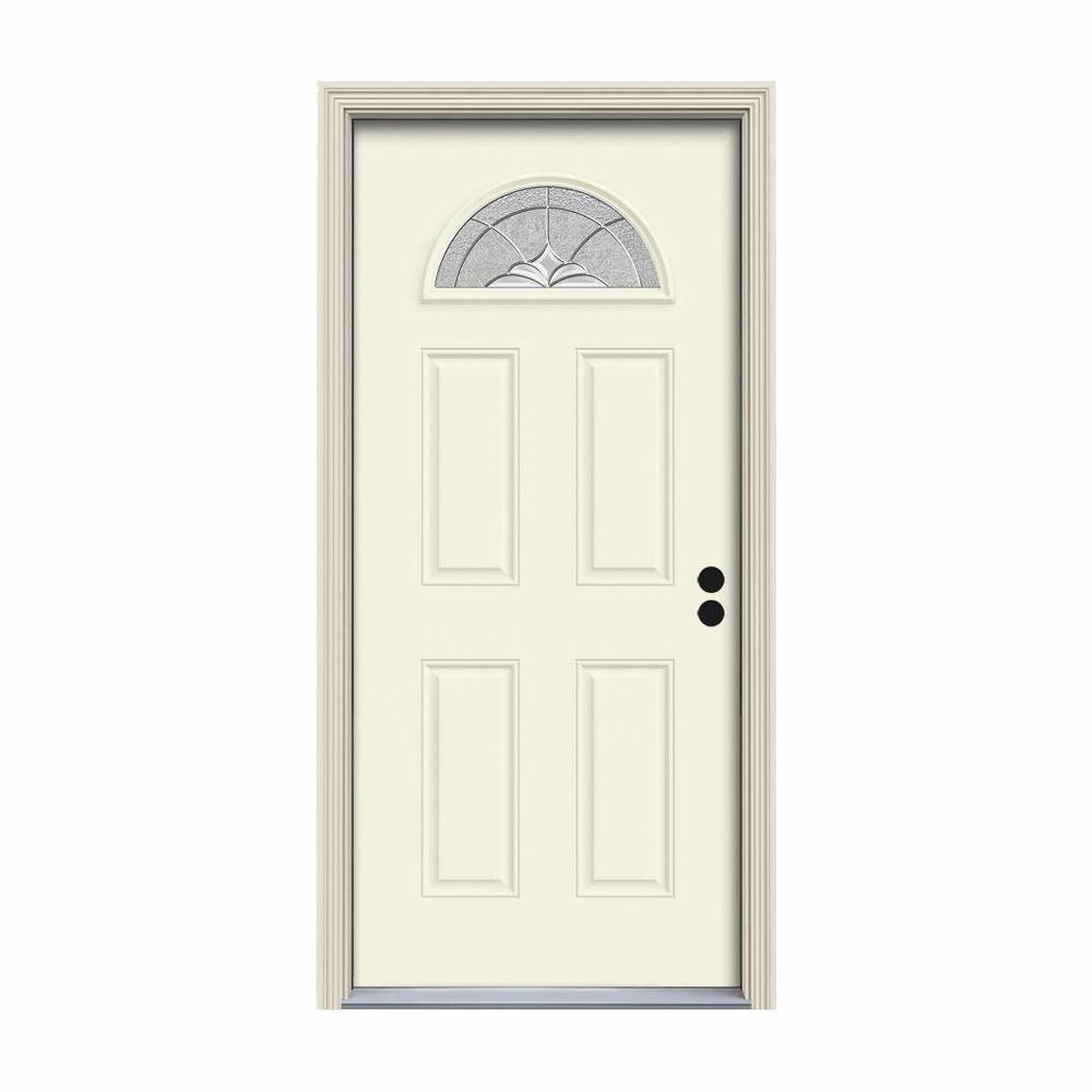 32 in. x 80 in. Fan Lite Langford Vanilla Painted Steel Prehung Left-Hand Inswing Front Door w/Brickmould