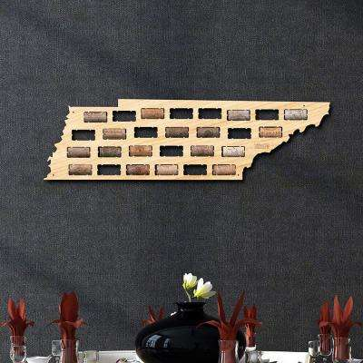 24 in. x 7 in. Wooden Tennessee Wine Cork Map