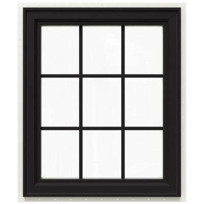 29.5 in. x 35.5 in. V-4500 Series Right-Hand Casement Vinyl Window with Grids - Black
