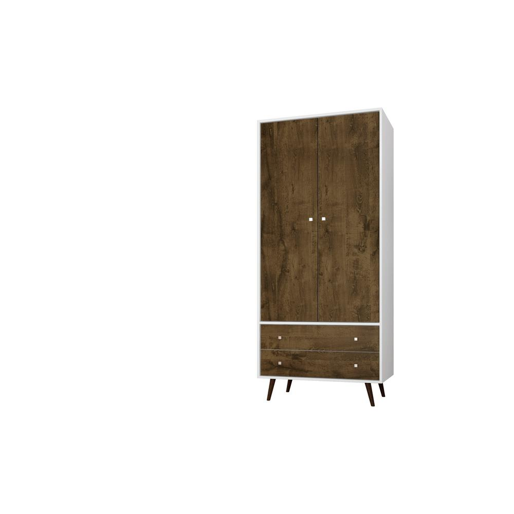 Liberty 31.89 in. White and Rustic Brown Mid Century- Modern Armoire
