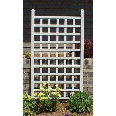66 in. x 35 in. White Vinyl PVC Country Garden Trellis