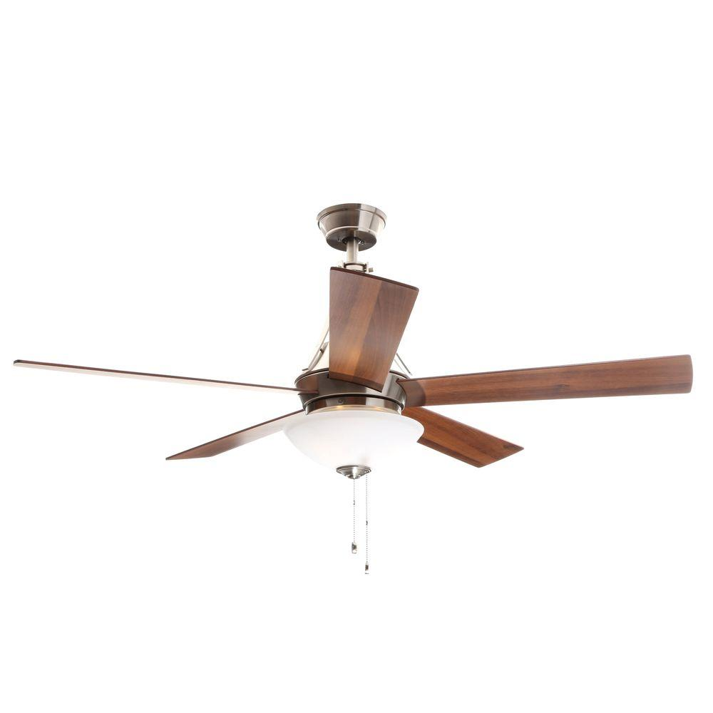 Hampton Bay Everbilt 54 in. Indoor Brushed Nickel Ceiling Fan with Light Kit